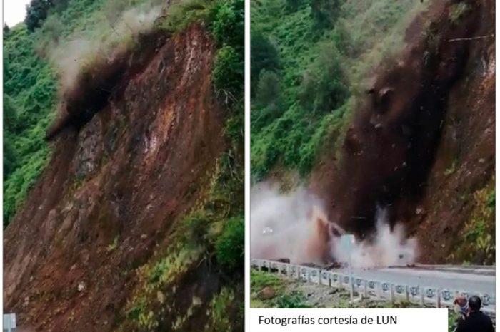 Importante deslizamiento de tierras en Ruta 7, al norte de Coyhaique